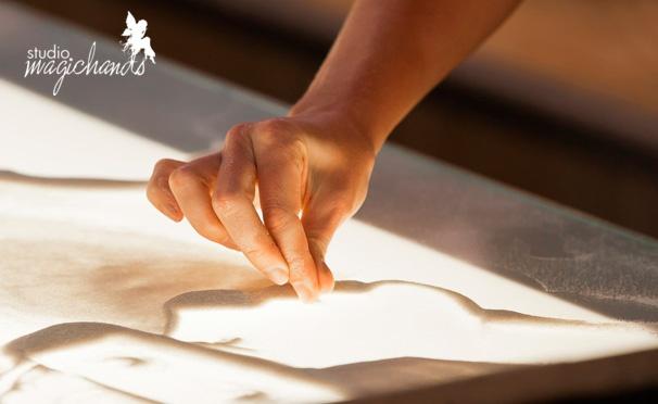 Скидка на Мастер-класс по рисованию песком на стекле для детей и взрослых в художественной студии MagicHands. Скидка 61%